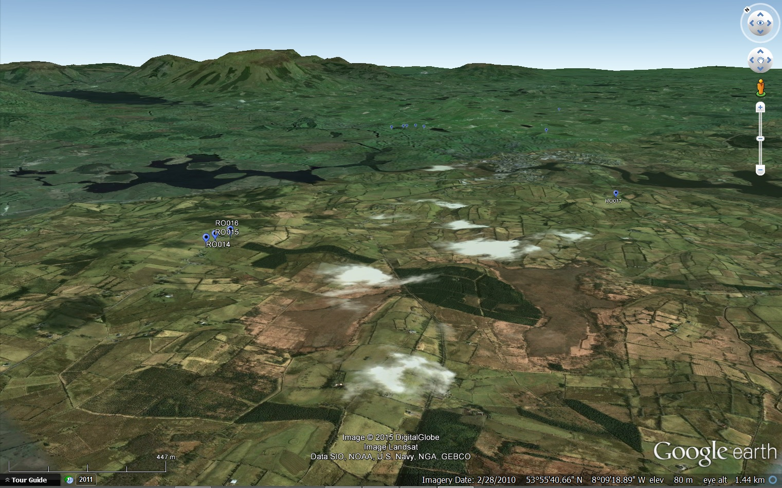 Google Earth view of the drumlin belt overlying the Croghan Limestone Formation, with suveypoints marked